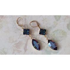 Bermuda Blue Earrings Crystal Rhinestone Earrings Blue Crystal... ❤ liked on Polyvore featuring jewelry and earrings
