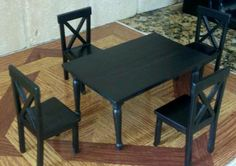 High quality dollhouse furniture complete modern dining room set 4 chairs 1/12