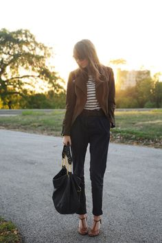 Fall Burberry Inspiration ---  H&M jacket  ; H&M pants   ; shoes and bag from boutiques; H&M striped tee