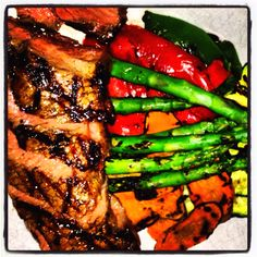 Eating colors! NY Strip & grilled veggies @ Rockit