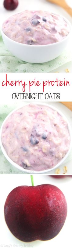 Cherry Pie Protein Overnight Oats -- just 5 healthy ingredients & of protein! Eat dessert for breakfast without any guilt! (desserts with oats greek yogurt) Protein Overnight Oats, Overnight Oatmeal, Overnight Breakfast, Healthy Baking, Healthy Snacks, Healthy Recipes, Dessert Healthy, Oats Recipes, Cooking Recipes