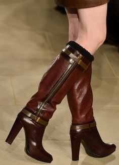 Belstaff AW13 Brown leather power boots perfect for storming down the pavement kicking fallen leaves