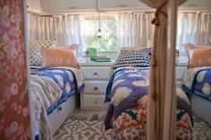 love, sarah schneider: airstream dream. OVE the same drapery use throughout for calmness--I would put a Queen or King size in here though and use the couch bed for the rare visitor