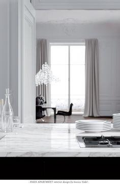 PARIS APARTMENT interior design by Jessica Vedel. White marble kitchen tops.