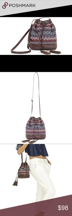 Bcbg Max Azria Cora mini bag nwt Beautiful brown blue red white bag. Smaller size perfect for everyday use. Fit your everyday needs in the beautiful bag. Any questions please ask BCBG Bags Hobos