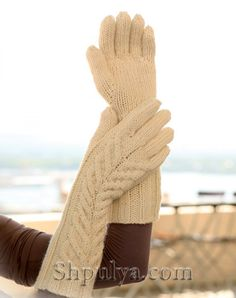 """Knitting Patterns Gloves Ravelry: Long gloves with cables in """"Nepal"""" pattern by DROPS design The Mitten, Crochet Mittens, Crochet Gloves, Knitted Hats, Drops Design, Wrist Warmers, Hand Warmers, Knitting Patterns Free, Free Knitting"""