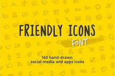 Friendly Icons Font by Hand-drawn Goods on @creativemarket