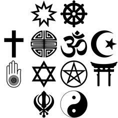 iconos diversos en blanco y negro sobre la diversidad religiosa, base de la moral.