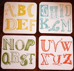 Alphabet Coasters Letterpress Set of 8 by 1canoe2 on Etsy, $15.00