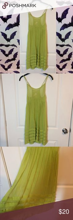 Lime green beach cover up Circa 2005 Sparkle and Fade, Forever 21, sheer, beach dress. Very fun to layer over other clothes as well. Forever 21 Dresses Midi