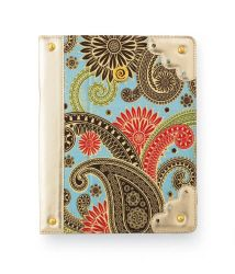 #MudPie Blue Paisley Ipad Case    Blue paisley printed canvas iPad© case with vegan leather interior and scallop edge accents. Secures with elastic corners and features a two-way convertible stand. Compatible with Ipad © and Ipad 2 ©.