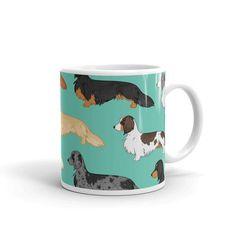 Super cute Dachshund colors mug. Dapple, chocolate piebald, cream, cream piebald, black and tan, red and more.