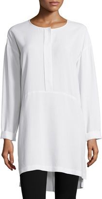 Go Silk Long-Sleeve High-Low Silk Tunic, Women's