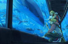 It's better BLUE by hakumo.deviantart.com on @deviantART - Alfred and Matthew visiting an aquarium...this looks AMAZING!