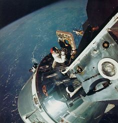 Apollo 9 astronaut Dave Scott during a spacewalk from the command module in March 1969. The Mississippi River is visible in the background.