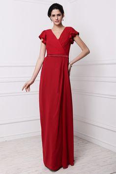 Dressesmall Modern V Neck #Short Sleeves Chiffon #Red Floor Length #Formal #Bridesmaid #Dress