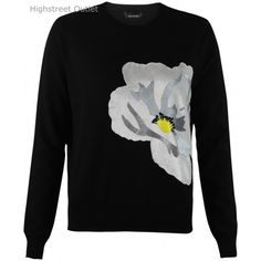 Topshop Black Waffle jumper with Flower Print