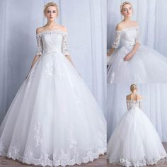 Modest Spring A Line Lace Wedding Dress 2016 Off Shoulder Half Sleeves Appliques Floor Length Corset 2015 White Princess Bridalball Gown Weddingdresses White Wedding Dress From Whiteone, $129.58| Dhgate.Com