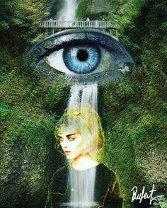 #illustration #Collage #surrealism #waterfall #eye #surreal42