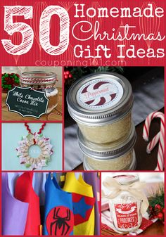 50 DIY homemade Christmas gift ideas! Need some last minute gift inspiration? Viola!