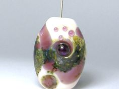 Purple and White focal handmade lampwork by DianeZeliaDesigns, $10.00