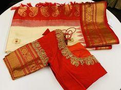 Orange and Blue Gadwal Saree - Cream and Red Gadwal Saree - Wedding Saree Blouse Designs, Pattu Saree Blouse Designs, Blouse Designs Silk, Designer Blouse Patterns, Sari Design, Vintage Louis Vuitton, Burberry, Simple Blouse Designs, Fashion Designer