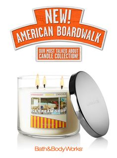 NEW Ice Cream Shop 3-Wick Candle – creamy vanilla, rich toffee and sweet almond blossom with a cherry on top ♥    #AmericanBoardwalk. This actually reminds me of maple syrup!  Yum!