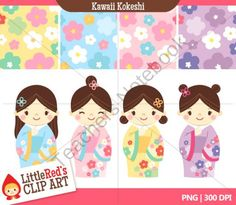 Clip Art: Kawaii Kokeshi Dolls with Digital Papers product from Little-Reds-Clip-Art on TeachersNotebook.com