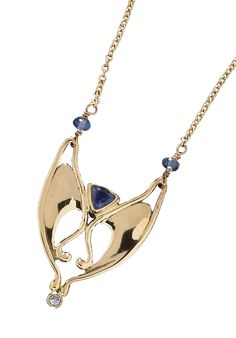 "14k yellow gold and sapphire pendant, ""The V"" available in the showroom and at http://www.goldcrafterscorner.com/signature-originals.html"