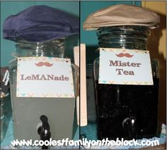 Drink Station, LeMANade and Mister Tea! Tie-riffic Little Man Mustache Bash 1st Birthday Party for boys (Coolest Family on the Block)
