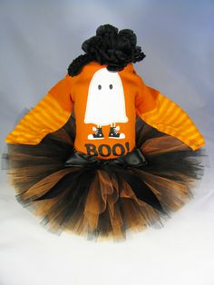 """Babys First Halloween Outfit  """" Boo Ghost """" - Girls Halloween Tutu Bodysuit and Headband Set - Size 24 Months on Etsy, $38.00"""