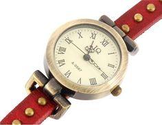 Reloj de pulsera, confortable con correa de tres bucles. (Disponible en correa color rojo y marrón)  Precio: S/. 45.00