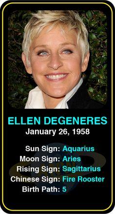Famous Comedians: Ellen Degeneres #astrology #comedy #comedian #comedians #astrocard #birthday #famous #ellendegeneres