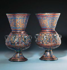 A PAIR OF LARGE MAMLUK STYLE ENAMELLED GLASS MOSQUE LAMPS FRANCE, 20TH CENTURY