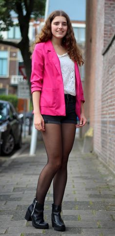 Janine wearing a pink blazer and Invito ankle boots  #inspiration #fashion #style #outfit #shoes