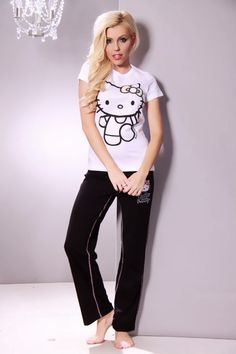 This super adorable Hello Kitty P.J outfit is  a must have! Perfect for sleepover or just being comfy at home!. Featuring soft stretch fabric, crew neckline short sleeves, hello kitty and finished with sequin bow accent. Bottoms contrast waist with hidden elastic waist band, drawstring tie, hello kitty embroidery  and finished with wide hem. 100% Cotton