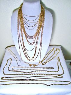 Vintage Gold Tone Chain Necklace Lot of 23 #Chain