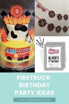 The best ideas for hosting a Firetruck Birthday Party for kids. Firefighter birthday party ideas including invitations, cookies, cake, outfits, and decorations. 1st Birthday Party Themes, Party Themes For Boys, Birthday Invitations Kids, Special Birthday, Happy Birthday Banners, Boy Birthday, Birthday Ideas, Firefighter Birthday, Firetruck