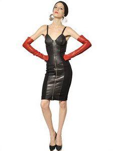 Jean-Paul Gaultier - Nappa Inserts On Wool Punto Milano Dress   FashionJug.com
