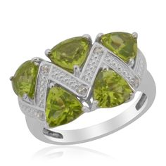 Hebei Peridot and Diamond Ring in Platinum Overlay Sterling Silver (Nickel Free)
