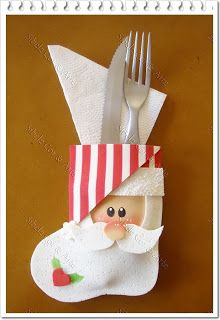 Christmas-Craft ideas-Santa silverware holder