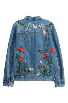 Embroidered Denim Jacket - Denim blue - Ladies   H&M US 2