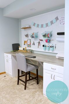 How to Make A Desk From Stock Cabinets 2021 How to Make A Desk From Stock Cabinets. How to Make A Desk From Stock Cabinets Diy Desk From Stock Cabinets Woodland Fice Craft Table Diy, Large Pegboard, Craft Room Desk, Diy Crafts Desk, Small Craft Rooms, Diy Craft Room, Craft Desk, Small Space Diy, Craft Room Organization
