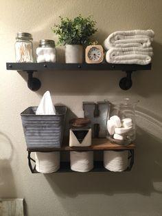 Guest bath farmhouse shelves