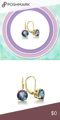 """Coming Soon!    Bright topaz and 18- karat gold plating combine in this pair to bring vibrant color to your ensemble. The minimalist design evokes classic refinement and simplicity.   0.3"""" W X 0.8"""" L 18k gold-plated brass / rainbow topaz Carat: 2.00 tw Jewelry Earrings"""