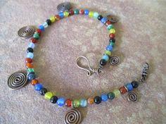 Gypsy Anklet Hippie Boho Beaded Multi Color by KillerJewels