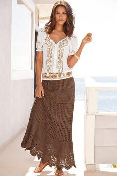 Womens Skirts knitted from cotton// Western// Boho// Long Skirt tricô e crochê lindos Mode Gipsy, Mode Boho, Modest Fashion, Boho Fashion, Fashion Looks, Fashion Outfits, Crochet Skirt Pattern, Crochet Skirts, Boho Dress