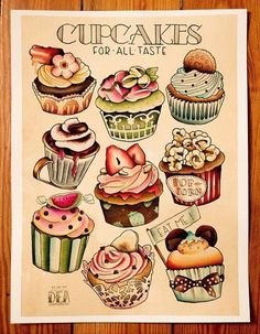 tattoo flash sketche cupcake food