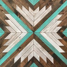 Rustic Geometric Turquoise Wood Wall Art by Bayocean Rustic Design