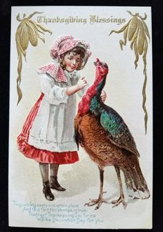Thanksgiving Blessings Postcard Girl with Turkey Poem Series No. 12 circa 1910 #Thanksgiving